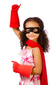 Portrait of pretty mixed race African American girl pretending to be a super hero — Foto Stock