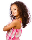 Portrait of pretty African-American mixed race child against white background — Stock Photo