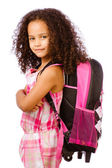 Mixed race African American girl wearing backpack for school against white background — Stok fotoğraf