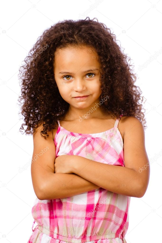 Portrait of pretty African-American mixed race child against white background — Stock Photo #12847617