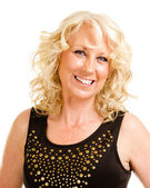 Portrait of pretty middle-aged woman in her 40s dressed for party or night out on the town — Stock Photo