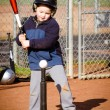 Boy batting during t-ball practice — Stock Photo