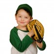 Cute young baseball or t-ball player isolated on white — Stock Photo
