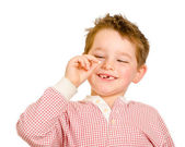 Child checking out his lost tooth isolated on white — Stock Photo