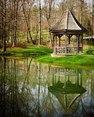 Gazebo in park setting in early spring — Stock Photo