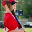 Portrait of child preparing to bat during organized league baseball game — Stock Photo #24565737