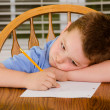 Stock Photo: Unhappy child doing his homework at kitchen table at home