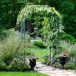 Garden arbor leading to forest path — Stock Photo