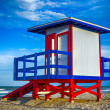 Colorful lifeguard tower at Cocoa Beach, Florida — Stock Photo