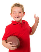 Portrait of happy child with football isolated on white — Stock Photo