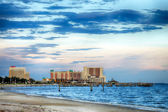 Biloxi, Mississippi, casinos and buildings along Gulf Coast shore at sunset — Stock Photo