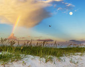 Beach scene on gulf coast in mississippi — Stock Photo