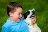 Child lovingly embraces his pet dog — Stock Photo