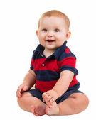 Portrait of happy smiling baby boy isolated on white — Stock Photo