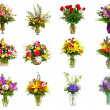 Collection of various colorful flower arrangements as bouquets in vases and baskets — Foto de Stock   #9907066