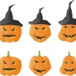 Stock Vector: Halloween pumpkins vector