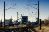 Railway and factory — Stock Photo