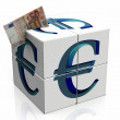 A cube with the symbol euro — Stockfoto