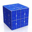 Blue solar cell cube — Stock Photo #15435915