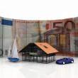 House car boat and euro — Stock Photo