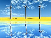 Wind turbine on the beach and reflect — Foto de Stock
