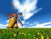 Jeden větrný mlýn v polích — Stock fotografie