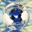 Hollow earth and metal ball — Stock Photo