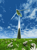 One wind turbane in grass and flowers — Stock Photo