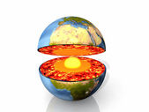 Earth open with magma and center — Stock Photo