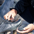 Stock Photo: Shoe shiner
