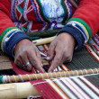 Weaving in peru — Stock Photo
