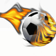 A soccer ball sets fire — Stock Photo