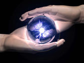 Ball of clairvoyance in the hands — Stock Photo