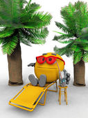 Smiley on lounge chair with a drink and palm trees — Stock Photo