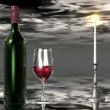 Wine, candle, glass and sky — Stock Video