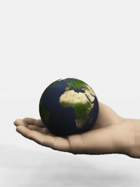 Hand holding global business universe world globe earth virtual planet — Stock Video