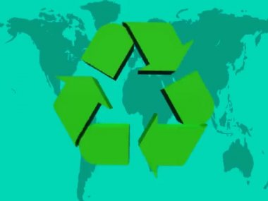 Turning recycle green logo — Stock Video