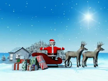 Santa and his deers — Stock Video