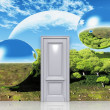 Door to a magical landscape — Stock Photo