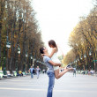 Young Couple Lovers in street — Stock Photo