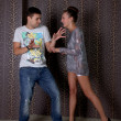 Young woman attack her boyfriend — Stock Photo #13179882