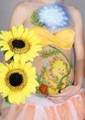 Belly pregnant girl, body art — Foto Stock