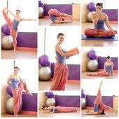 Beautiful girl makes different yoga exercises — Stock Photo