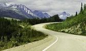 Alaska'nın yüksek dağlarında asfalt yol — Stok fotoğraf