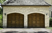 Typical two car wooden oak car garage — Stock Photo