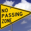 No passing road sign - Stock Photo