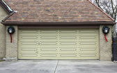 Traditional two car wooden garage — Stock Photo
