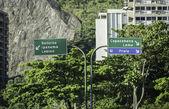 Copacabana direction road sign in Rio de Janeiro — Stock Photo