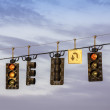Stock Photo: Traffic lights hanging above street