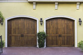 Two car wooden arch garage — Stock Photo